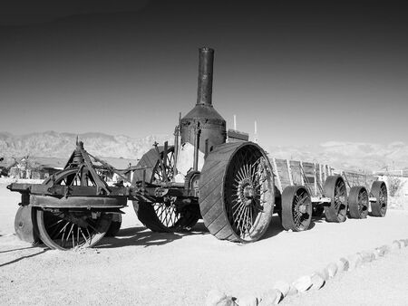 Steam Tractor, Furnace Creek, Death Valley National Park, California, USA, black and white version