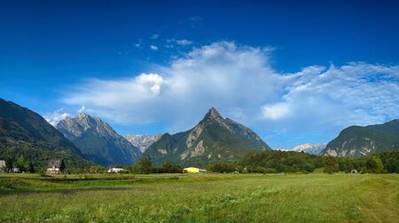 valley view: Panoramic view of idyllic mountain valley, Bovec, Slovenian Alps