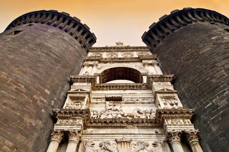 angle: Main gate sculptures at Castel Nuovo, Naples, Italy