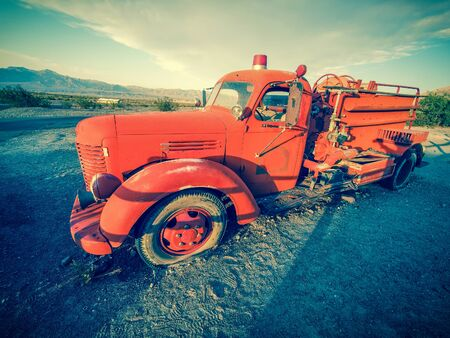 Old vintage classic fire truck, California, USA