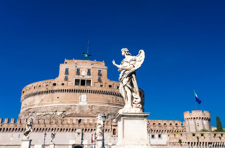 castel: Image of the medieval fortification of Sankt Angelo in Rome, Italy Editorial