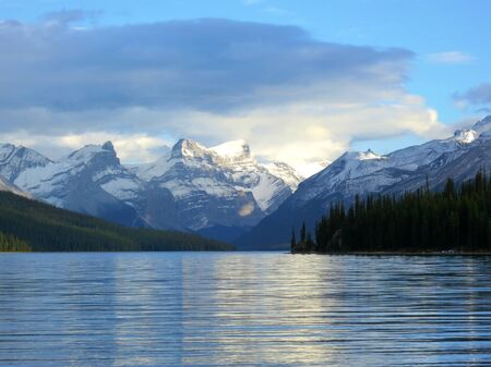 icefield: Sunset at Maligne lake, Jasper national park, Canada