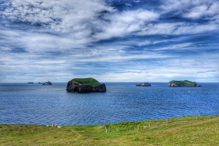 recent: View of islands in Westman Archipelago, Iceland Stock Photo