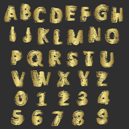 spattered: Grunge gold letters and numbers vector