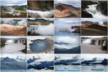 Impressions of Iceland, Collage of 16 travel images.