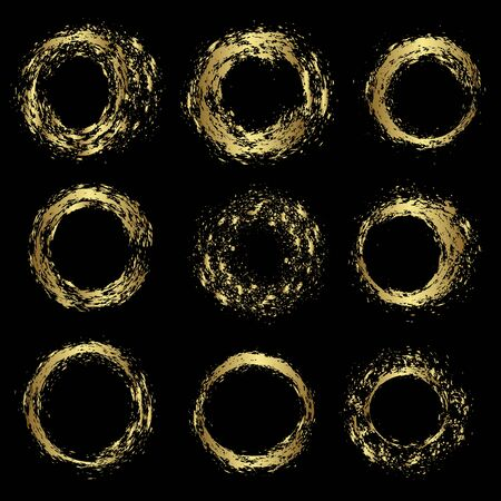 Set of various gold circles, vector illustration design.