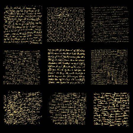 Conjunto de fondos de escritura a mano de oro, diseño vectorial