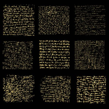 Set of gold handwriting backgrounds, vector design
