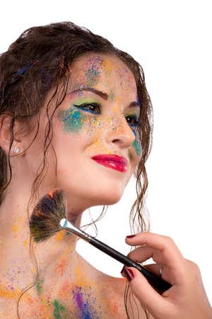 bodyart: makeup artist does bodyart