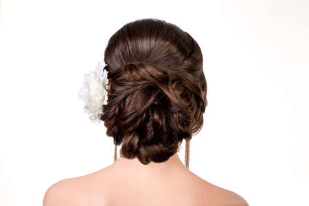 hairdress: young girl with a wedding hairdress