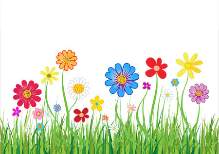 Abstract floral background with flowers and green grass. Vector illustration Stock Vector - 4752990