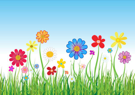 Abstract floral background with flowers and green grass. Vector illustration  Vector