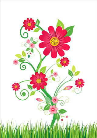 Abstract floral background with red flowers and green grass. Vector illustration