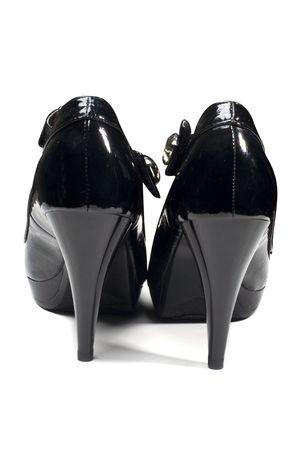 Fashion black woman shoes isolated on white Stock Photo - 4833346