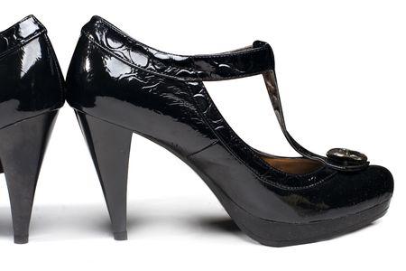 Fashion black woman shoes isolated on white Stock Photo - 4833345