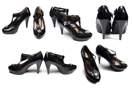 Many Different perspectives black woman's shoes isolated on white Stock Photo - 4833350