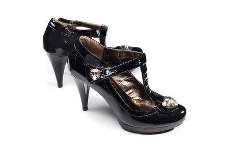 Fashion black woman shoes isolated on white Stock Photo - 4833352