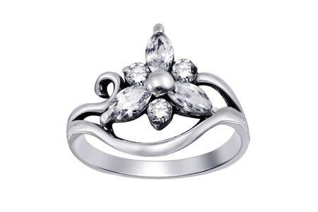 Ring  with gemstones  isolated on white background  Stock Photo - 5044223