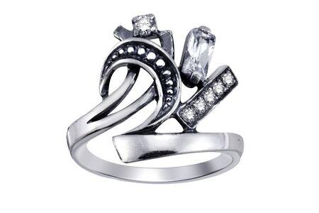Ring  with gemstones  isolated on white background Stock Photo - 5044235