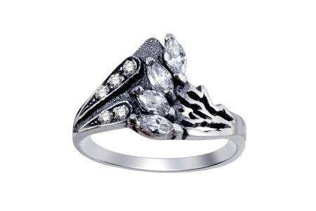 Ring  with gemstones  isolated on white background Stock Photo - 5044233