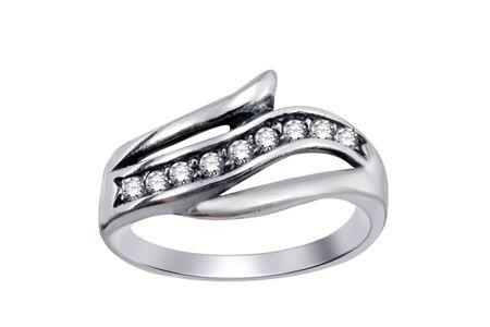 Ring  with gemstones  isolated on white background  photo