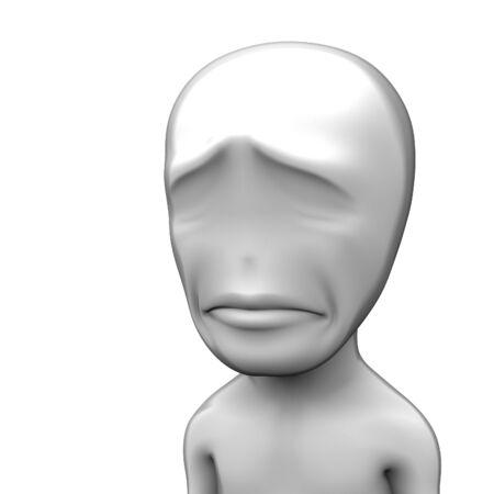 3d depressed little person. a sad mood