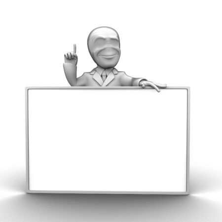 3d little person with blank board that you can write anything photo