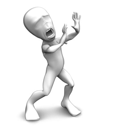3d little person who very frightened, trembling in fear Stock Photo - 5044182