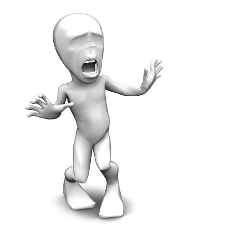 scared man: 3d little person who very frightened, trembling in fear Stock Photo
