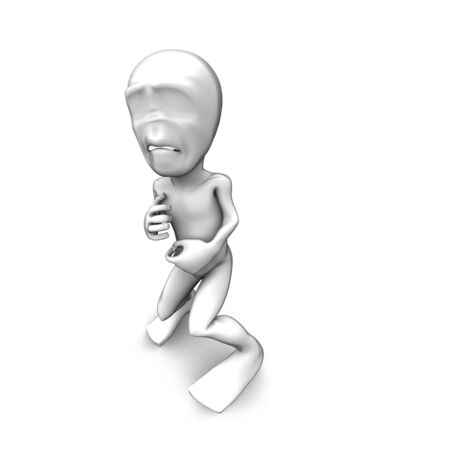 3d little person who very frightened, trembling in fear photo