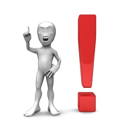 interjection: 3d little person with exclamation marks. Attention