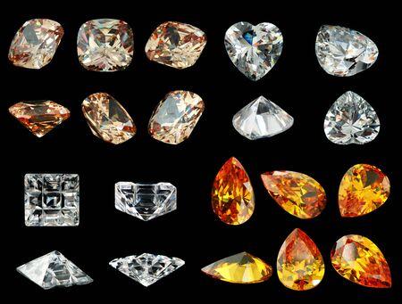 Many different gemstone isolated on black background photo