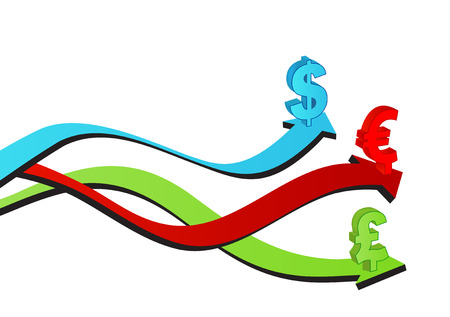 Business & Finance colorful arrows with symbol of euro, dollar and sterling Stock Vector - 5154611