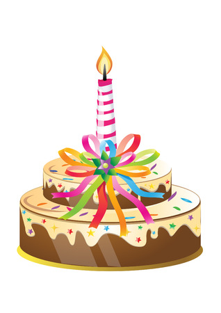 Birthday cake and candle with colorful ribbons.Vector Illustration.