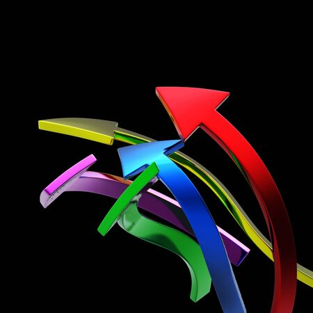swerve: Colorful arrows on black  background isolated   Stock Photo