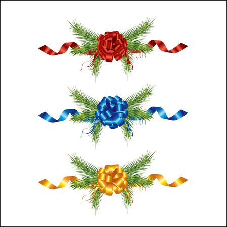 Vector decoration - Beautifully christmas pine and ribbon Stock Photo - 6052716