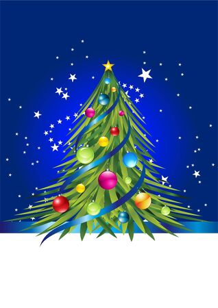 Blue card with colorful christmas tree and colorful ball on it. Vector background Stock Photo - 6052713