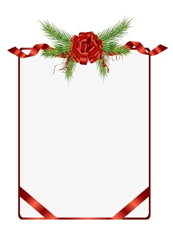 beautifully: Vector decoration - Beautifully christmas pine and ribbon