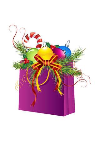 Christmas gift bag, ball, holly, cane, pine, ribbon isolated on white. Christmas ornament Stock Photo - 6052712