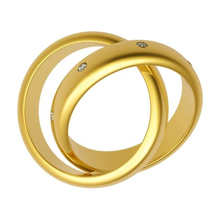 3d gold wedding ring isolated on white background photo