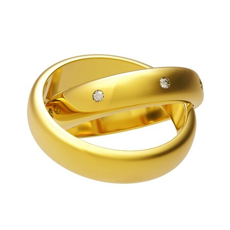 brilliant: 3d gold wedding ring isolated on white background