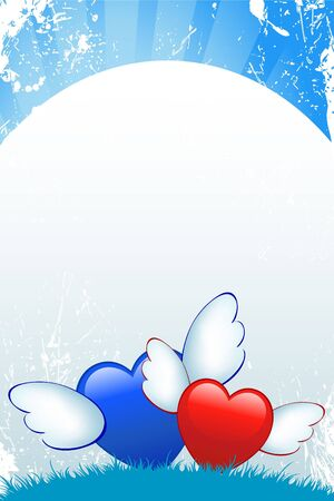 Cartoon hearts with wings on blue grunge background Stock Photo - 6500000