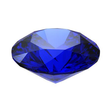 saffier: Sapphire edelsteen geïsoleerd op witte achtergrond