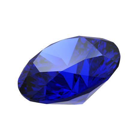 Saphir gemme isolé sur fond blanc