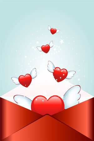 Red envelope with flying heart photo