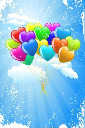 Cartoon hearts balloons with wings on blue background photo