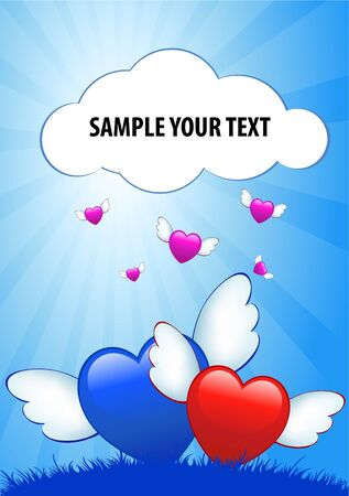 Cartoon hearts with wings on blue grunge background photo