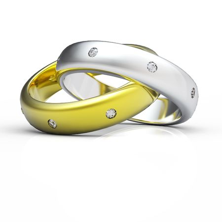 3d gold wedding ring isolated on white background Stok Fotoğraf - 6500005