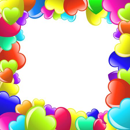 Frame of colorful  cartoon heart on white background photo