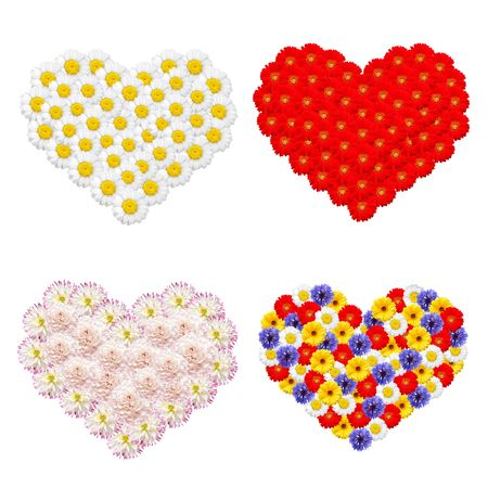 Colorful flowers forming shape of a heart on white background  photo
